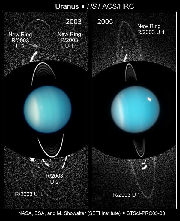 Снимки колец Урана, сделанные космическим телескопом им. Хаббла в 2003 и 2005 годах